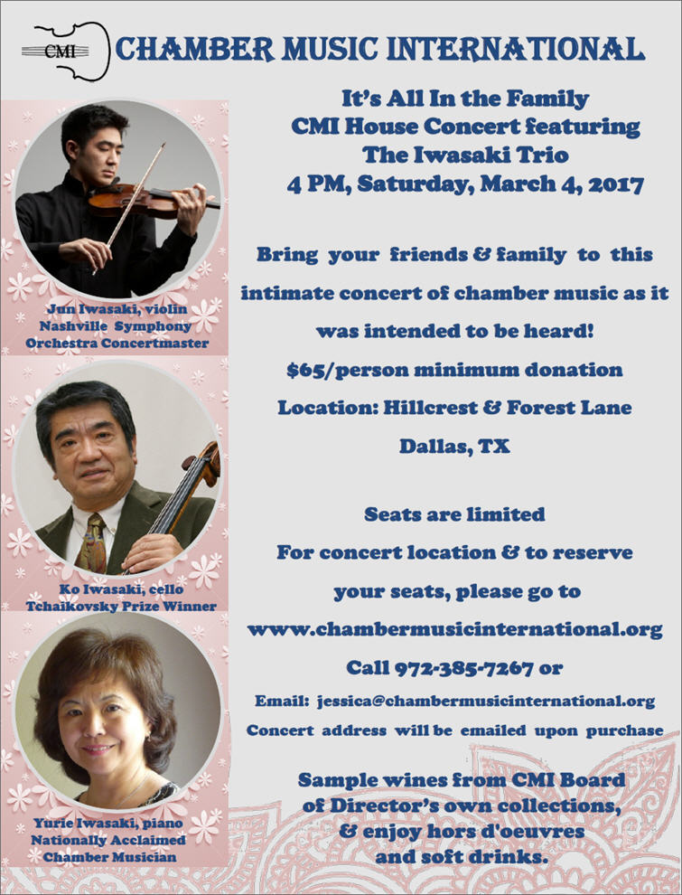 Join us for a special event benefiting CMI 2016-2017 Concert Season!  To purchase tickets, please click on the links below or call 972-385-7267
